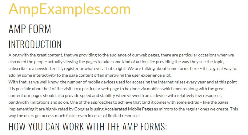 Why  do not we  explore AMP project and AMP-form element?
