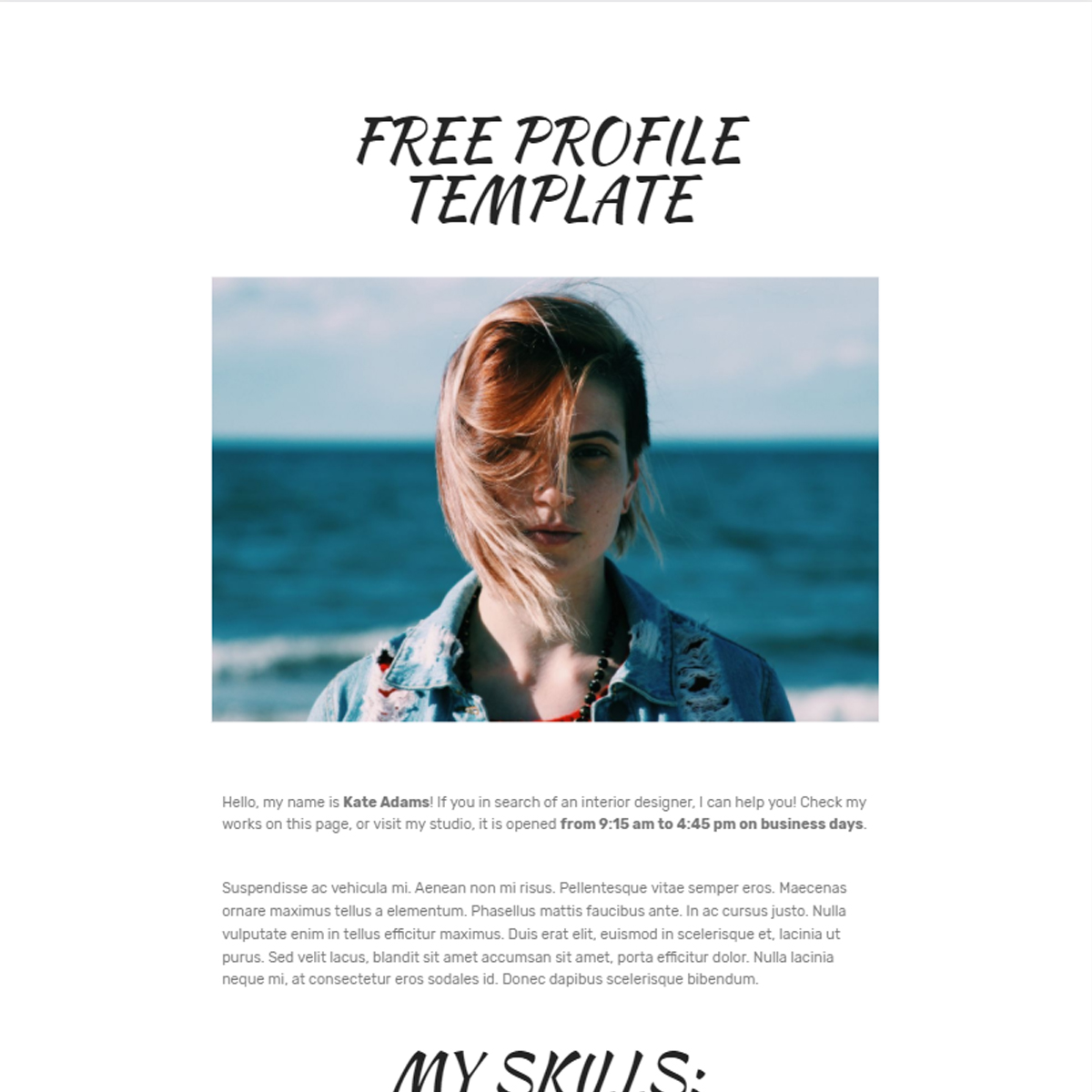 Free Bootstrap Profile Themes