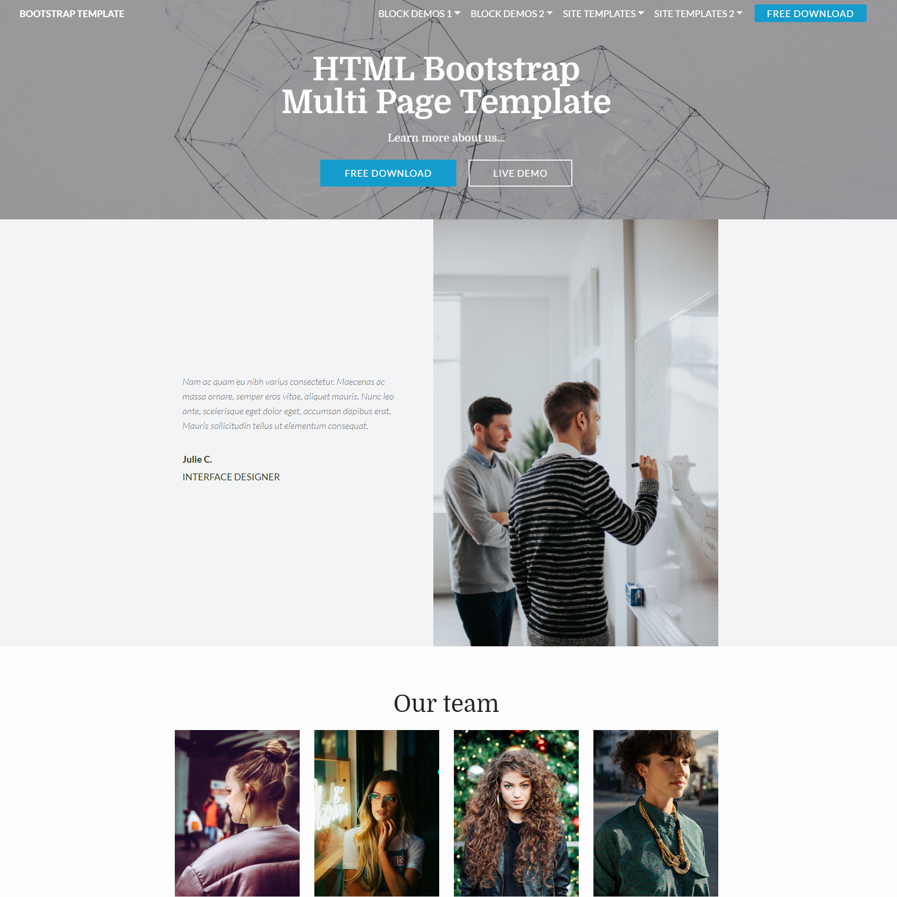 Free Bootstrap Multi page Templates