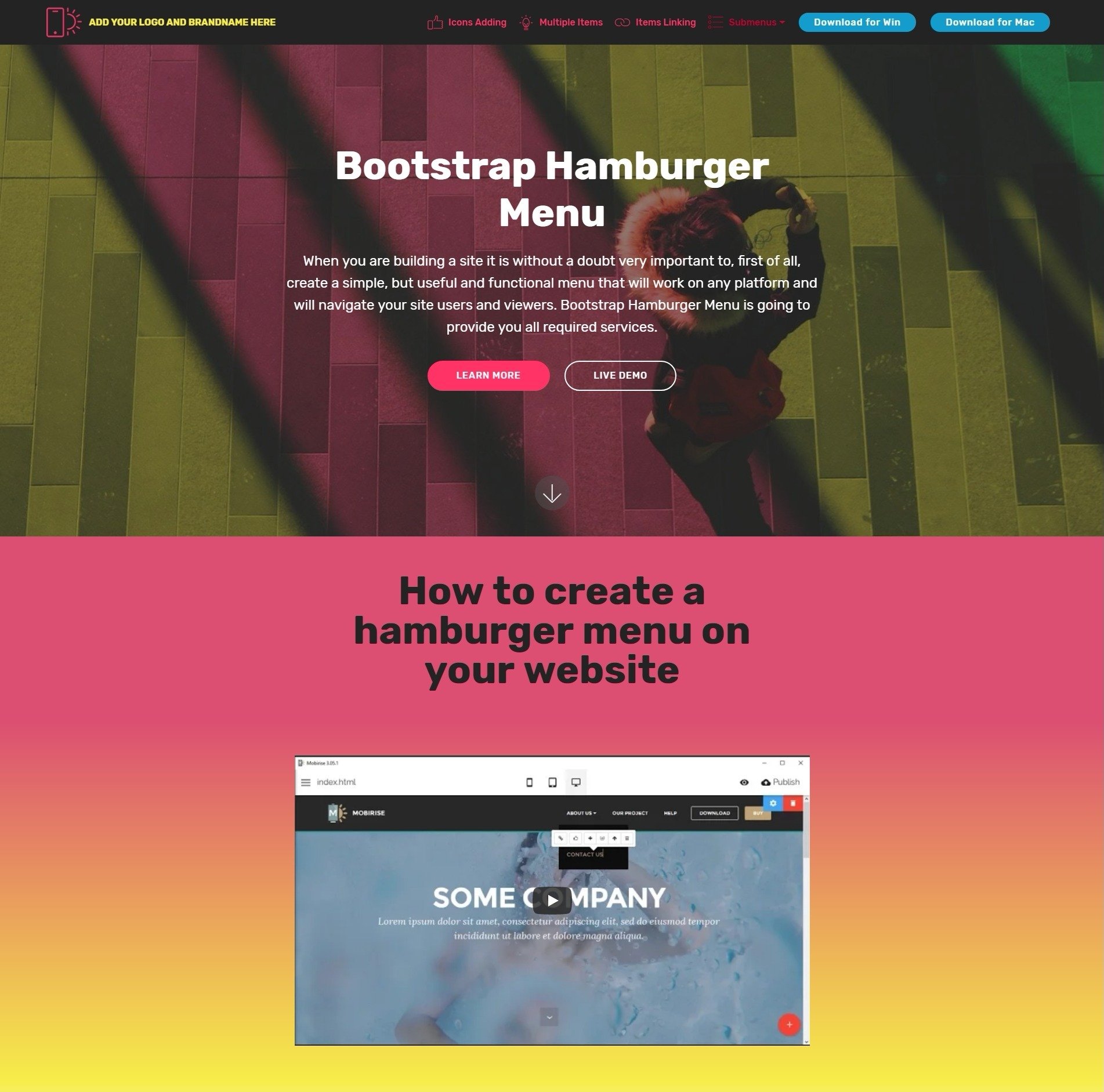 Fresh CSS Bootstrap Carousel Video Players and Nav Menu Demos